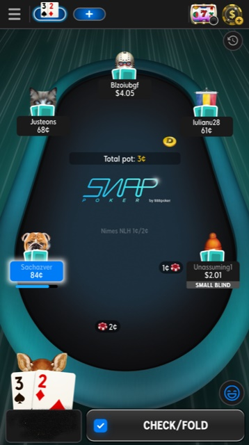888 Snap pokertafel