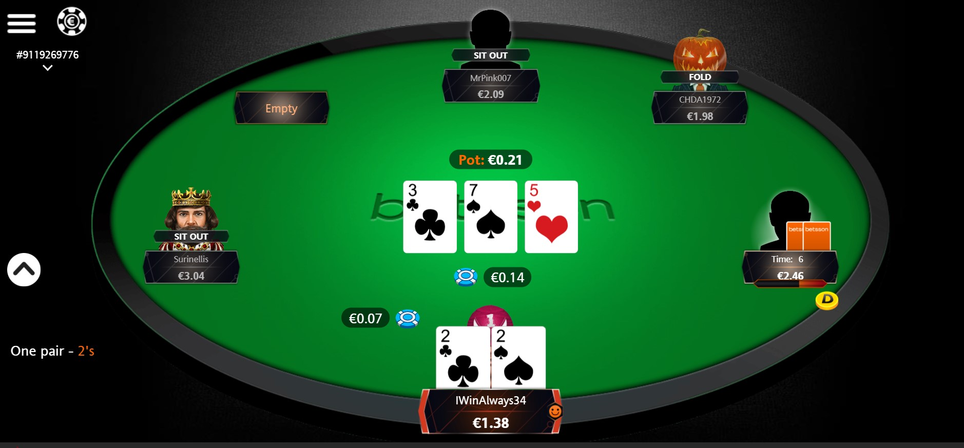 Cash Game Holdem in game