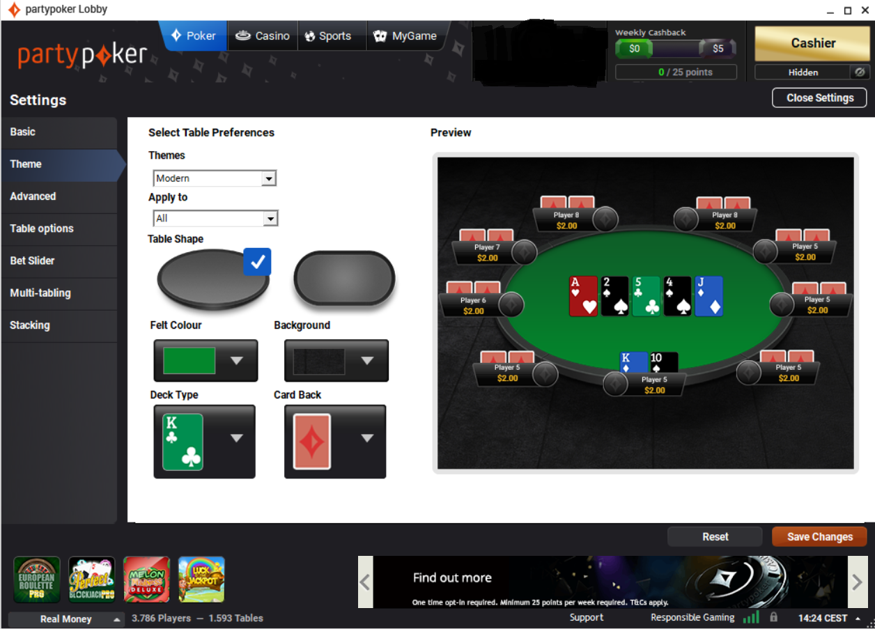 partypoker settings