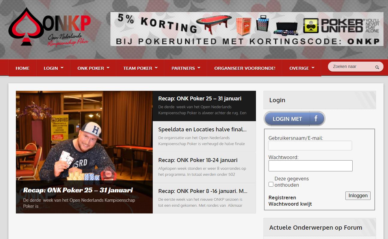 Website ONKPoker.nl in 2016