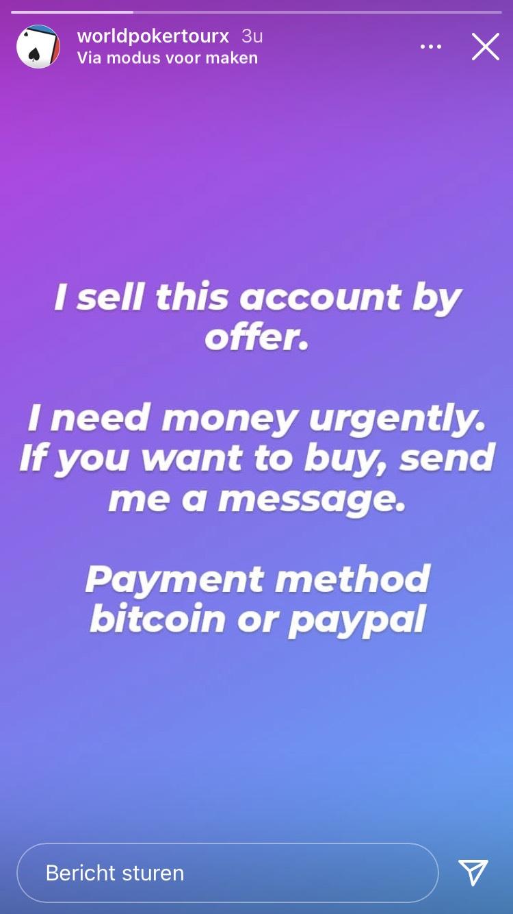 Instagram WPT verkoop