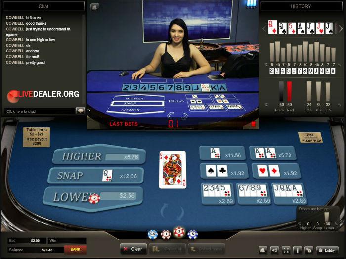 Hi-Lo casino table