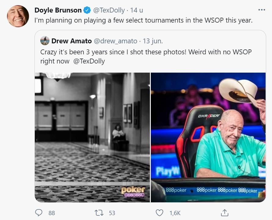 Tweetbericht Doyle Brunson