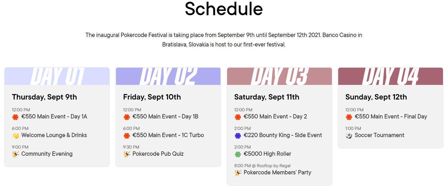 Pokercode Festival Schedule