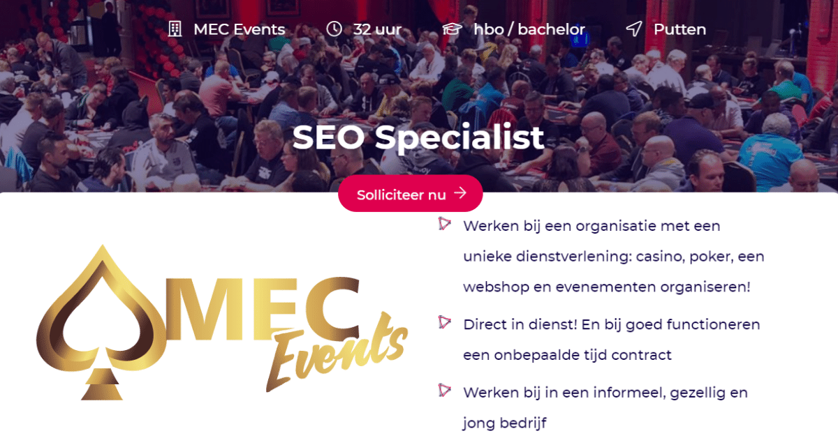 Vacature SEO Specialist MEC Events